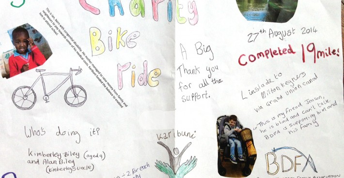 Kimberley Biley's sponsored bike ride