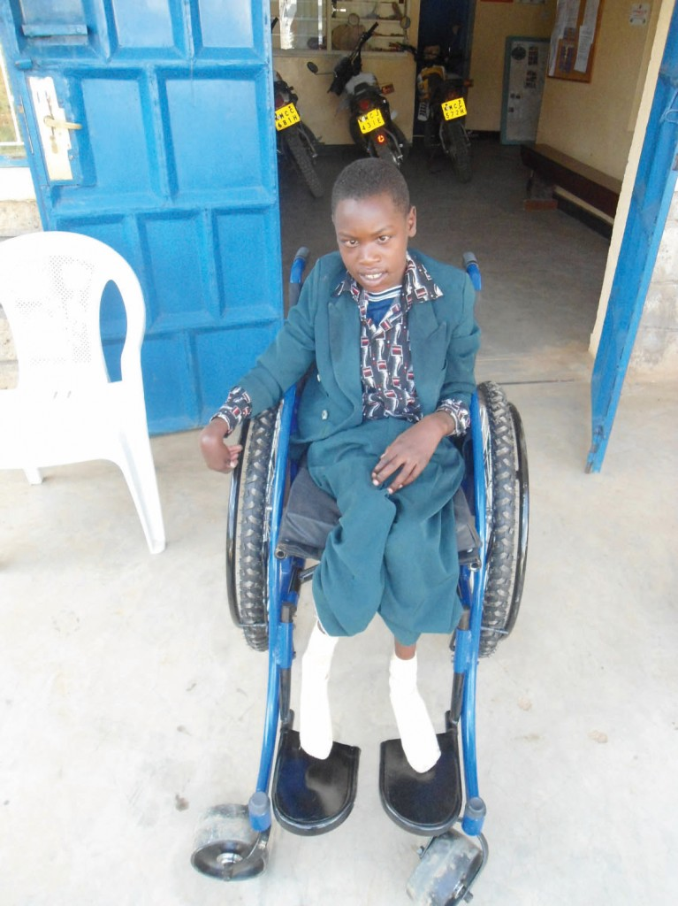 Picture of boy in wheelchair in Maua Kenya