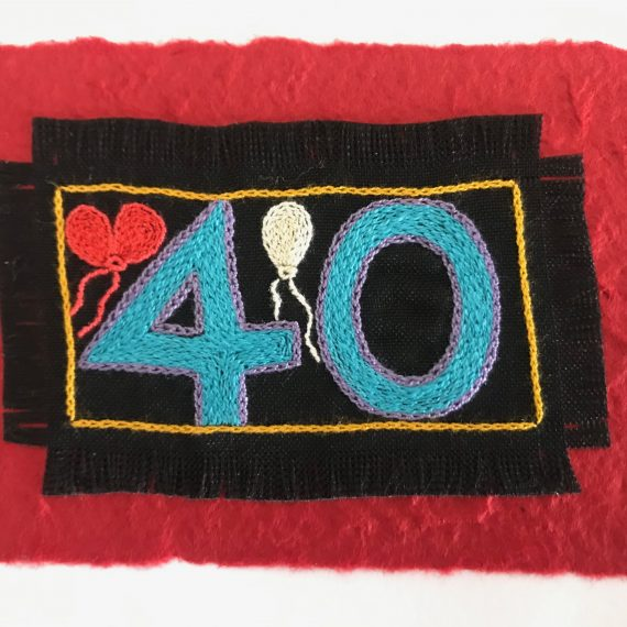 Hand Embroidered Greetings Card – 50th Birthday card