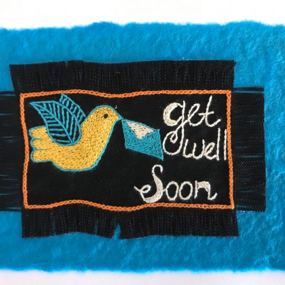 Hand Embroidered Greetings Card – Get Well Soon - Design B
