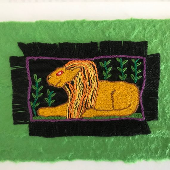 Hand Embroidered Greetings Card – Lion