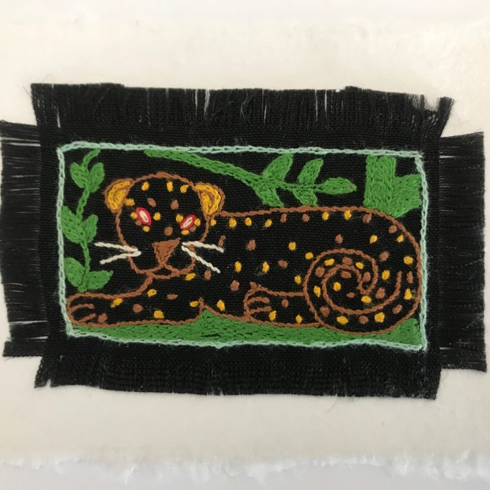 Hand Embroidered Greetings Card – Leopard