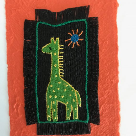 Hand Embroidered Greetings Card – Giraffe