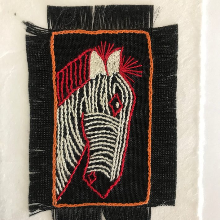 Hand Embroidered Greetings Card – Zebra